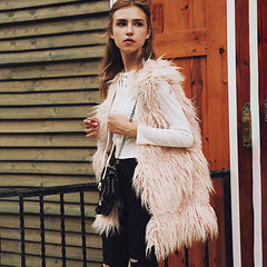 Long Bohemian Shag Faux Fur Vest
