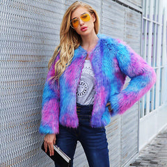 Psychadelic Cotton Candy Pink and Blue Faux Fur Coat