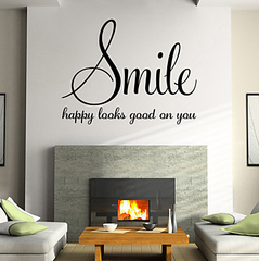 Smile Happy Looks Good On You Positive Wall Decal Sticker For Home Decor