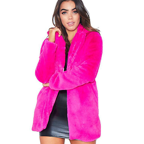 Vibrant Electric Pink Faux Fur Coat
