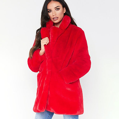 Vibrant Luscious Red Faux Fur Coat