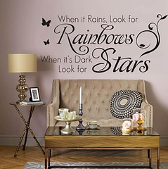 When It Rains, Look For Rainbows. When It's Dark, Look For Stars Quotes To Live By Positive Wall Decal Sticker