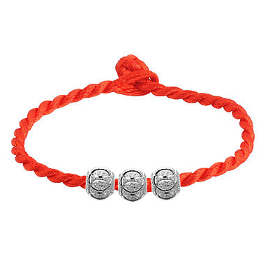 Orange Braided Friendship Bracelet With 3 Round Metallic Beads