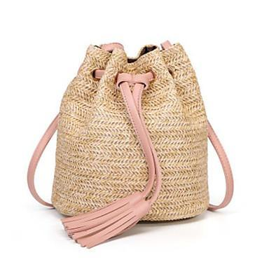 Straw Woven Bag With Light Pink Drawstring and Tassels (Backpack)