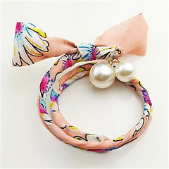 Wrap Around Floral Light Pink Headband With Large Imitation Pearl Charms