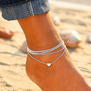 Silver Layered Heart Ankle Bracelet