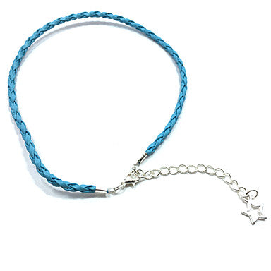 Thin Blue Braided Leather Bracelet With Star Pendant