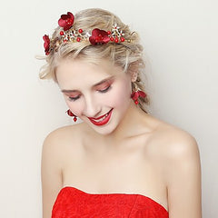 Red Floral Headpiece and Matching Earrings