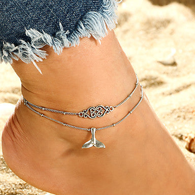 Double Layered Mermaid Fin Charm Anklet 2 PCs