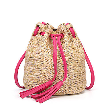 Straw Woven Bag With Fuschia Pink Drawstring and Tassels (Backpack)