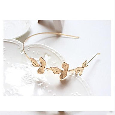Cute Golden Leaf Metal Headband