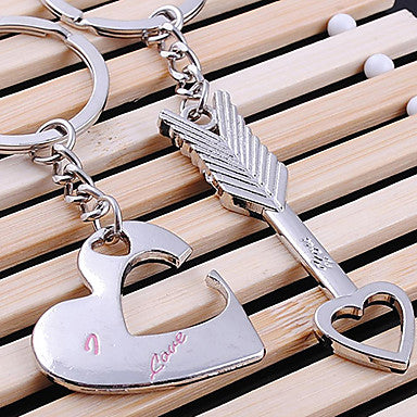 Heart and Arrow Shaped Silver Keychains For 2