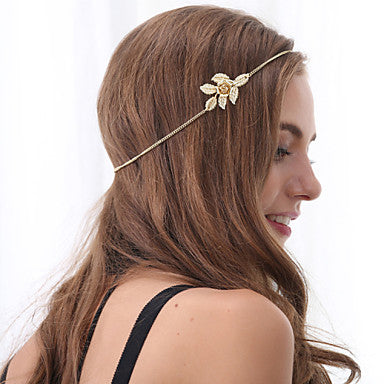 Adjustable Golden Metal Floral Headband