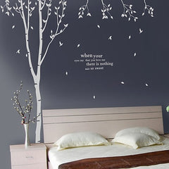 Eyes Speak More Than Words Love Quote and Tree Wall Decal Sticker
