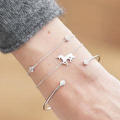 Simple and Dainty Thin Chain and Bangle Unicorn Bracelets 3Pcs