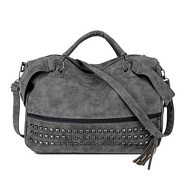 Large PU Bohemian Style Messenger Bag With Square Rivets