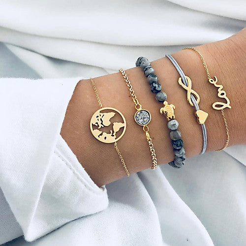 Five Piece Gray and Black Boho Wanderlust Themed Infinity Sea Turtle Heart Love Stackable Bracelets