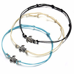 3 Sea Turtle Charm Cord Anklets Blue, White and Black