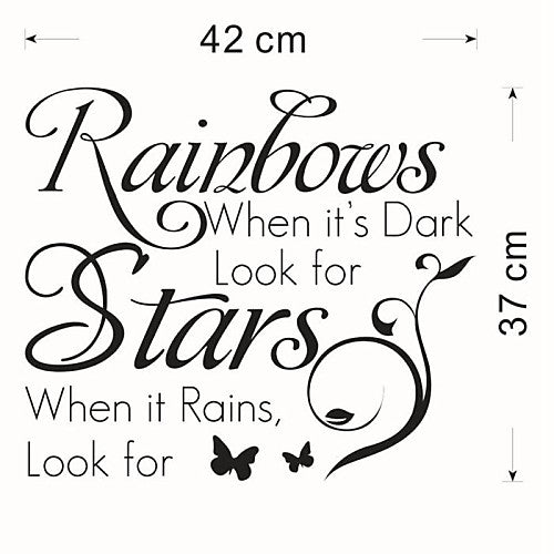 When It Rains, Look For Rainbows Life Quote Wall Decal