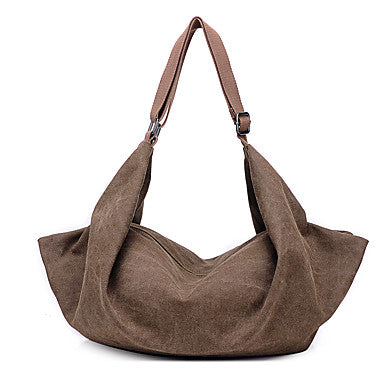 Chocolate Brown Canvas Bohemian Style Hobo Bag