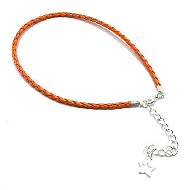 Thin Orange Braided Leather Bracelet With Star Pendant