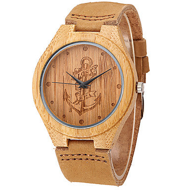 Lost At Sea Printed Anchor Wooden Leather Band Wrist Watch