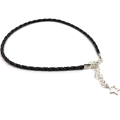 Thin Black Braided Leather Bracelet With Star Pendant