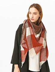 Red Plaid Fringe Neck Scarf