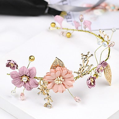 Cute Purple and Pink Flower Thin Gold Metal Headband