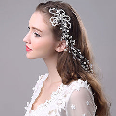 Imitation Pearl and Rhinestone Bridal Hair Vine Headpiece With Flower Design
