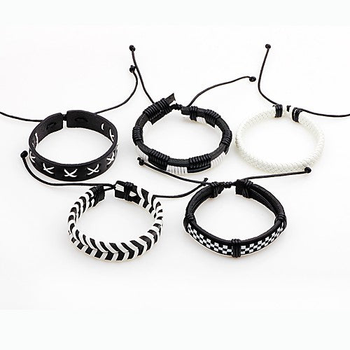 5 Piece Leather Black and White Stackable Bracelets