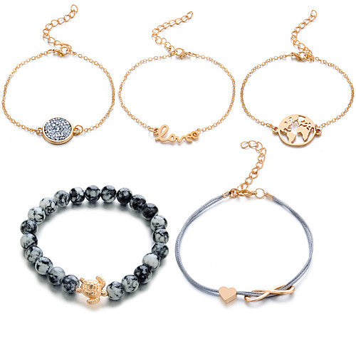 5 Piece Gray and Gold Boho Turtle Infinity Love Stackable Bracelets