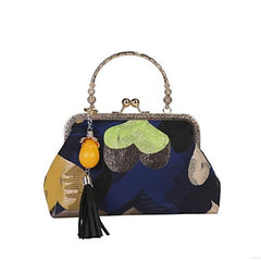 Multicolored Abstract Kiss Lock Handbag With Detachable Chain Strap and Tassel Embellishment Blue