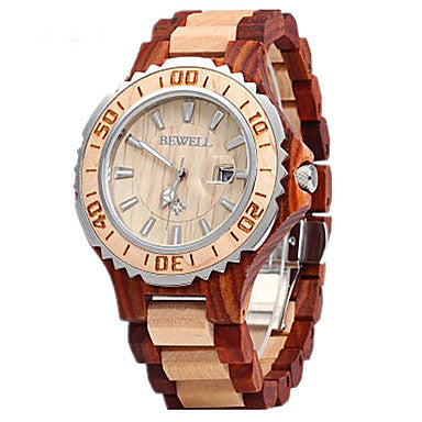 Beautiful Wooden Calendar Analog Quartz Wrist Watch