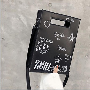 Black Handwritten Font and Doodle Art Shoulder Bag With Detachable Straps