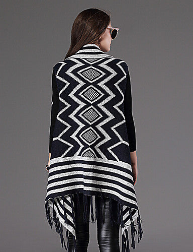 Sleeveless Geometric Print With Fringe Kaftan Cardigan Sweater