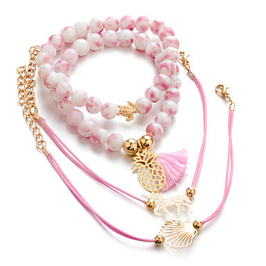 Pink Beaded Unicorn, Pineapple, Turtle and Seashell Charm Bracelet