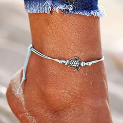 Beach Boho Chic Turtle Charm Cord Anklet