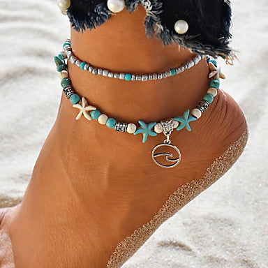 Blue and White Beach Boho Double Layer Clay Starfish and Ocean Wave Charm Anklet