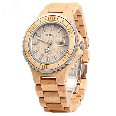 Light Brown Wooden Calendar Wrist Watch For Women