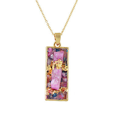 Multicolored Dichroic Fused Acrylic Pendant Necklace