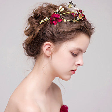 Golden Butterfly and Red Fabric Floral Bridal Tiara With Imitation Pearl and Rhinestone Accents