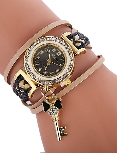 Rhinestone Key Charm Braided Fabric Bracelet Watch