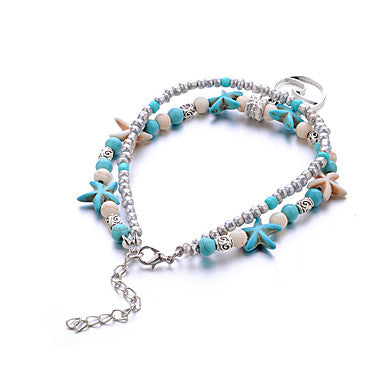 Beach Boho Double Strand Clay Starfish and Ocean Wave Charm Anklet
