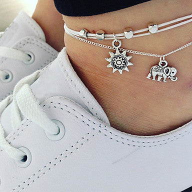 Bohemian Silver Sun and Elephant Charm Anklet