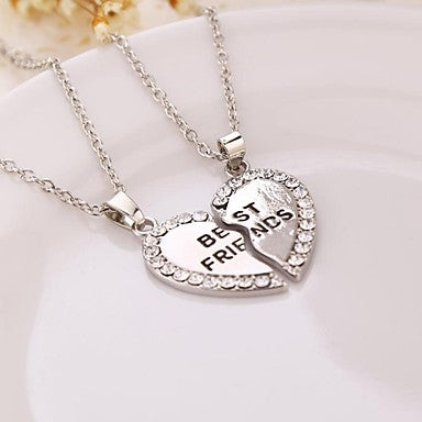 Silver Colored Heart Shaped Best Friends Necklace For 2
