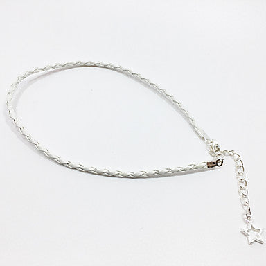 Thin White Braided Leather Bracelet With Star Pendant