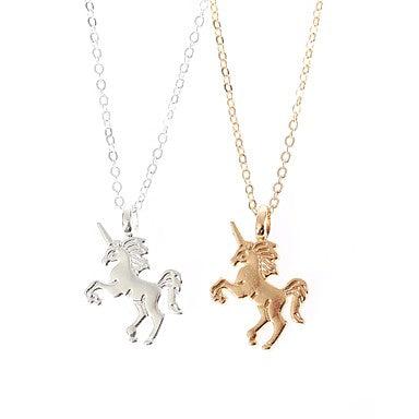 Simple Solid Colored Unicorn Pendant Necklace