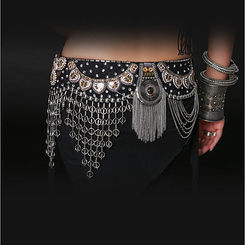Metal belly dance gypsy tassel belt wrap