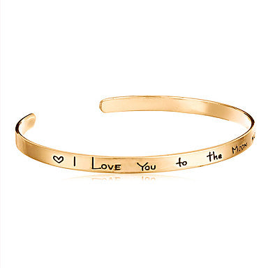 Minimalist I Love You To The Moon and Back Open Bangle Cuff Bracelet